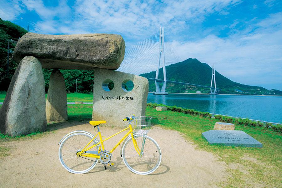 JR西日本の「尾道・しまなみサイクリングきっぷ」なら、レモン色の自転車がレンタルできる