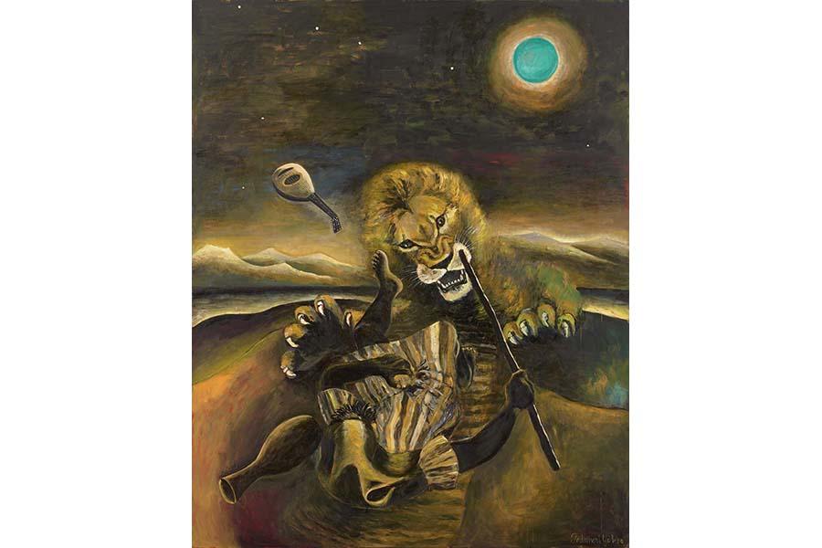 《ライオンと緑の月》1996年 作家蔵(横尾忠則現代美術館寄託)