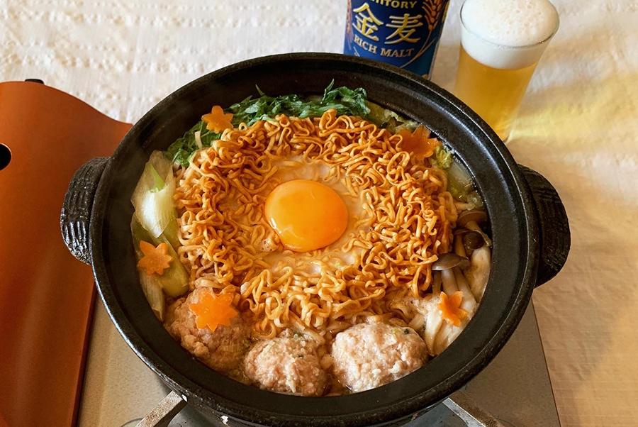 「チキンラーメン」×「金麦」で「チ金麦鍋」。こんなダジャレ、きらいじゃないぜ〜