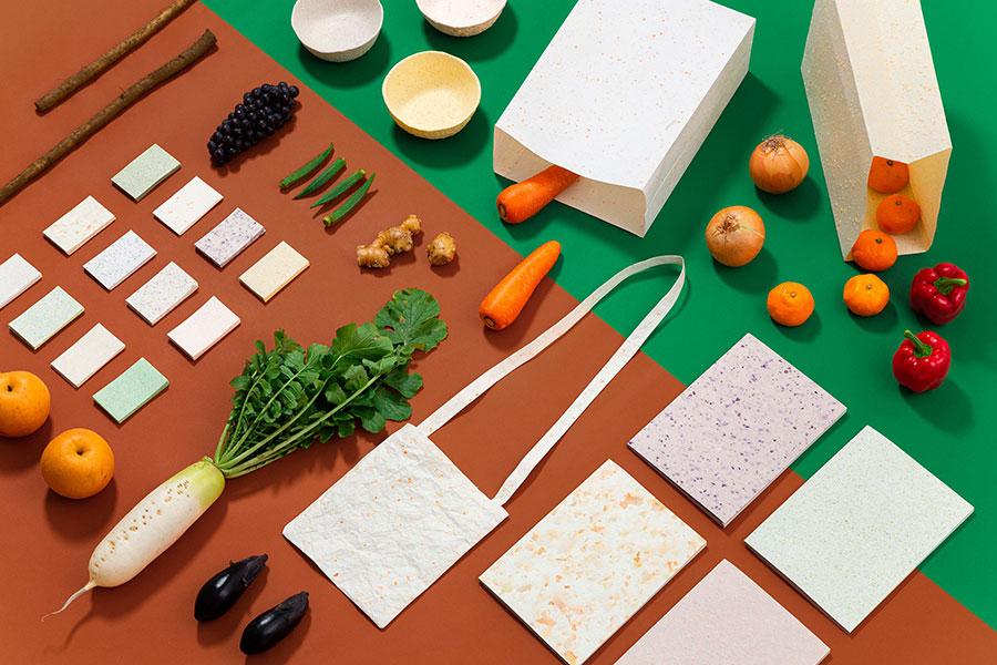 「Food Paper」の商品は、メッセージカード12枚入各594円、小物入れ各1320円など