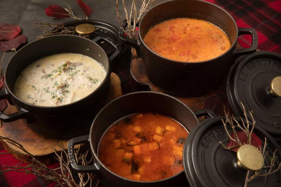 体が温まるビーフストロガノフ、ボルシチ、ポトフといったスープ
