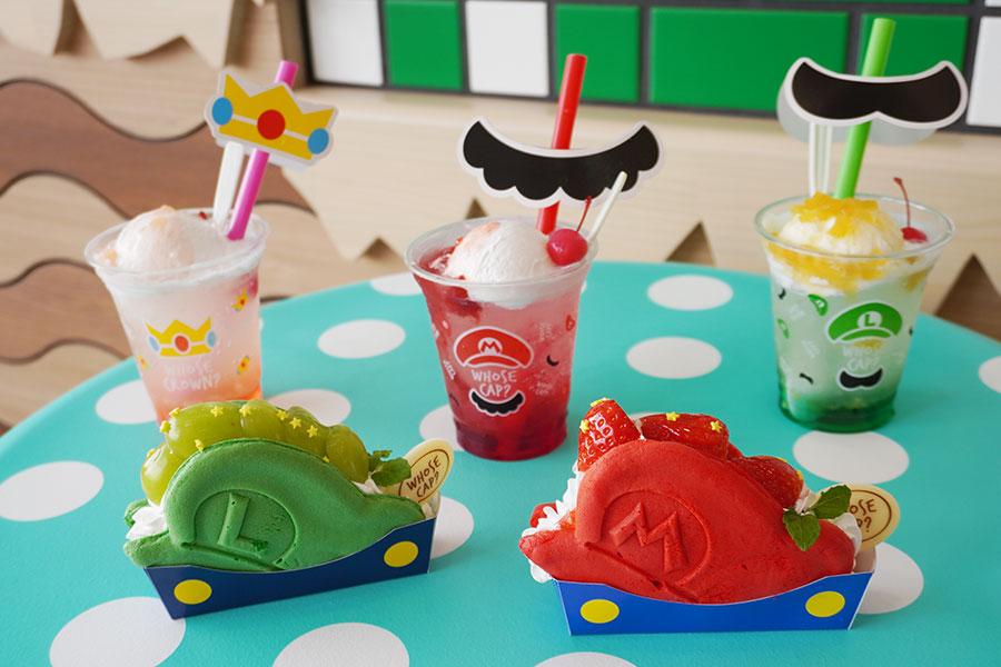 マリオとルイージの帽子をモチーフにした「パンケーキ・サンド マリオの帽子 〜いちごのショートケーキ〜」など