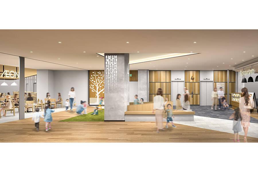 4階の南エレベーターホール周辺には、子どもが遊べるプレイグランド(イメージ)