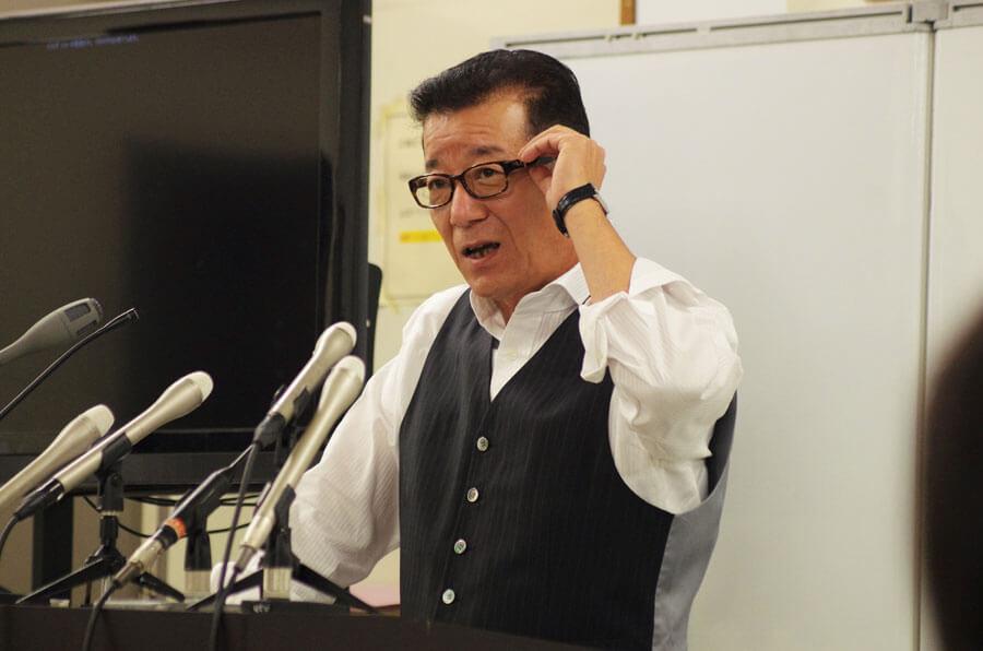 花博会場跡地でおこなわれる大型イベント『PARK JAM』について説明する松井一郎市長 (10月22日・大阪市役所)