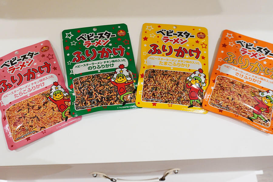 大人気のベビースター入りの『ふりかけ』全4種類(各306円税別)