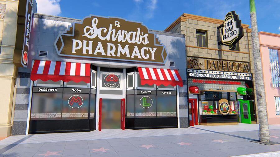 マリオの登場するゲームをイメージした「マリオ・カフェ&ストア」の外観イメージ図