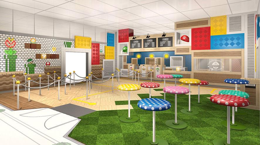 マリオの登場するゲームをイメージした「マリオ・カフェ&ストア」のカフェ店内イメージ図