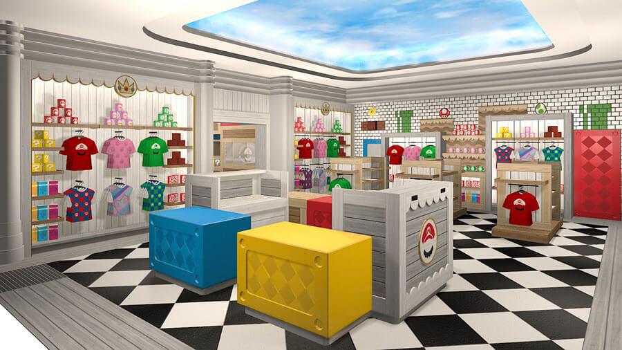 マリオの登場するゲームをイメージした「マリオ・カフェ&ストア」のストア内観イメージ図