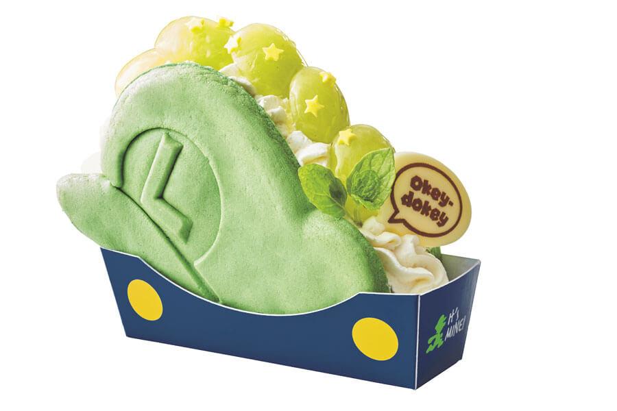 マリオとルイージのかわいい帽子にサンドされた「パンケーキ・サンド」より、「ルイージの帽子 〜ぶどうのレアチーズケーキ〜」