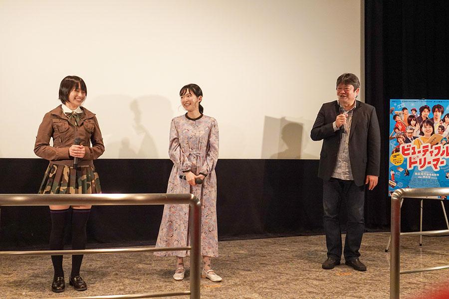 監督としても活躍する女優の小川紗良(中央)、元自衛隊出身で三重出身のかざり(左)
