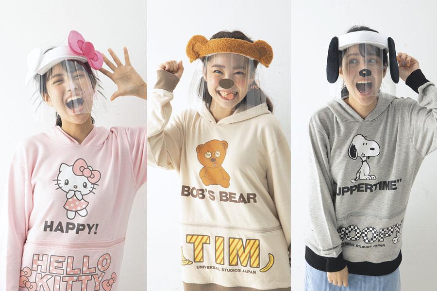 フェイスシールド(左からハローキティ、 ティム、 スヌーピー)画像提供:ユニバーサル・スタジオ・ジャパン