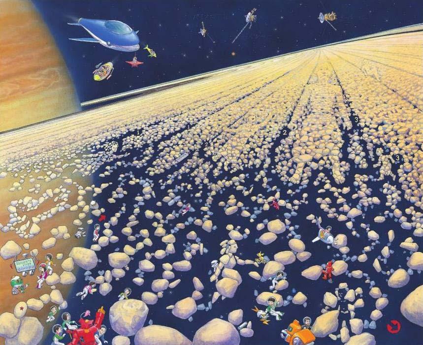 香川元太郎 土星のリング 2011年 『宇宙の迷路』より