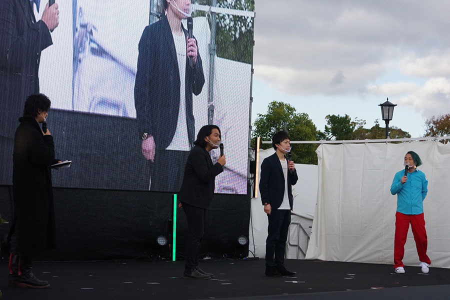 齊藤、見取り図(盛山・リリー)、永野が登壇。盛山が堺出身とあって、地元の魅力もアピール(29日撮影)