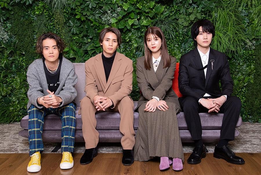 左からHIROSHI、神谷健太、馬場ふみか、桜田通 (C)ABCテレビ
