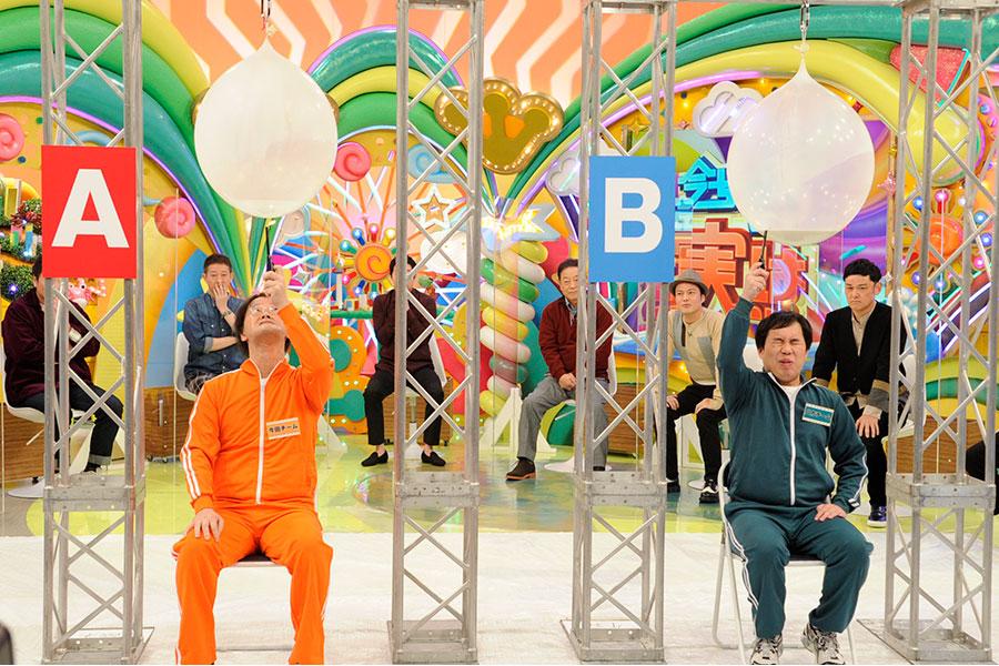 稲田と霜降り明星・せいやが体を張ってスタジオで壮絶生実験 (C)ABCテレビ