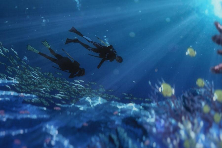 海洋生物を研究する恒夫はダイビングショップでアルバイト。アニメでは難波に実在する「オーシャンステージ」が登場。(C)2020 Seiko Tanabe/ KADOKAWA/ Josee Project
