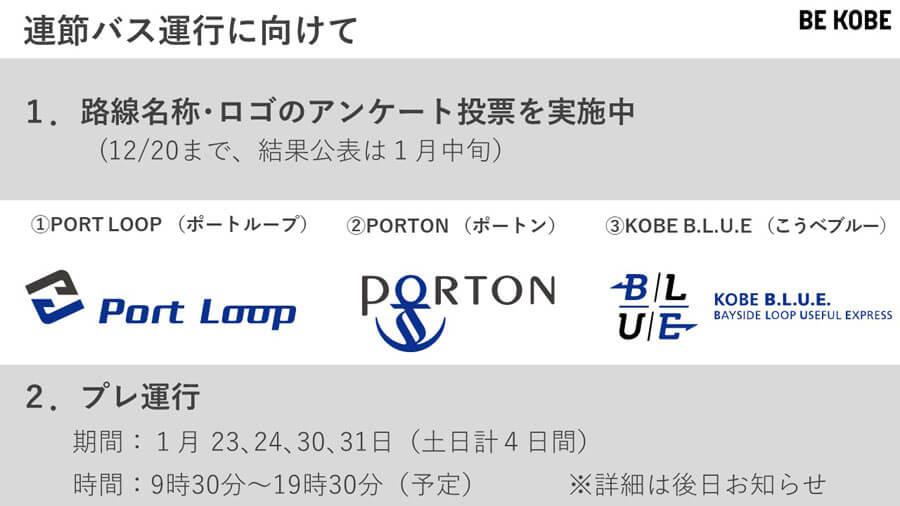 神姫バスの特設サイトにて、路線の名称とロゴのアンケート投票を実施中(12月20日まで)。1月にはプレ運行もおこなう(提供:神戸市)