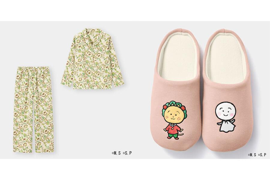 「サテンパジャマ」(2990円)(左)、「ラウンジシューズ」(990円)どちらもオンラインストアと超大型店のみで販売、価格はいずれも税別