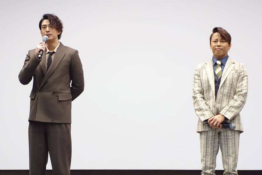 時代劇には初めての挑戦となる、三浦翔平(左)と、西川貴教(3日・大阪市内)