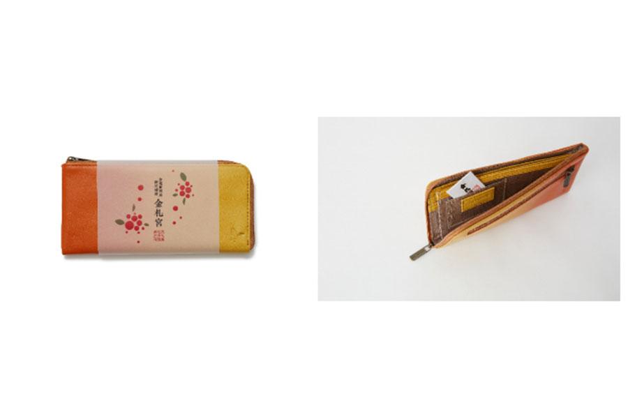 「マザーハウス」、神社の「金札宮」、「京都芸術大学」、「大丸京都店」が共に開発した「イロドリL スタイル ロング ウォレット」。「クロガネモチの木」の刻印と、祝福小判が添えられている
