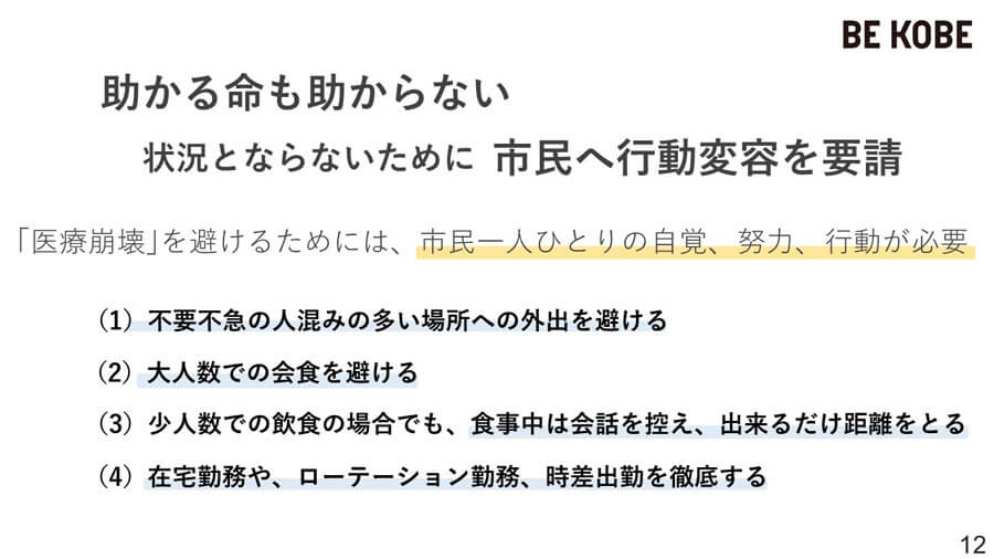 神戸市配付資料より。これまでも言われてきた対策だが、いま一度肝に銘じたい。コロナ以外の病気や事故で病院にかかることのないようにも心がけたい 提供:神戸市