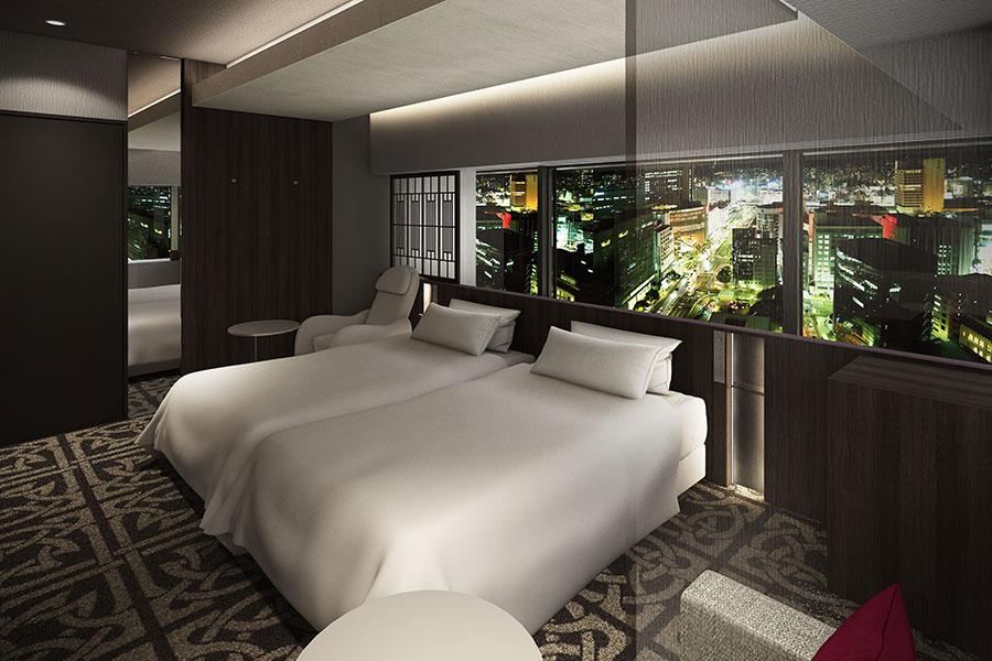 「寝室×港町の情緒」をイメージしたKOBE CLASSIC。クラシックな柄のカーペットで、歴史ある邸宅テイストに