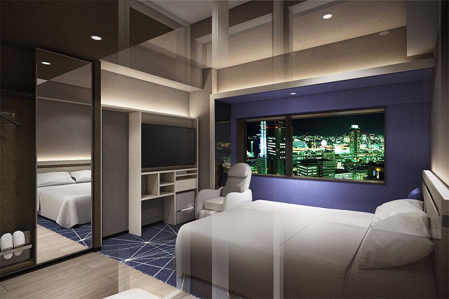 「夜景×港町」をイメージした「midnight BLUE」。落ち着いたブルーの寝室で、窓からは街の夜景を楽しめる