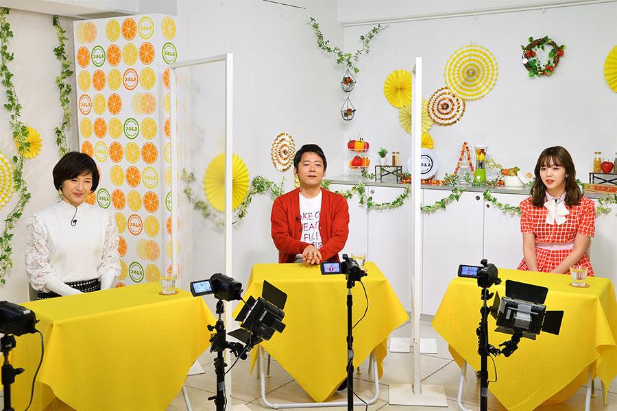(左から)水野真紀、ロザン・菅広文(左)、藤田ニコル(写真提供:MBS)