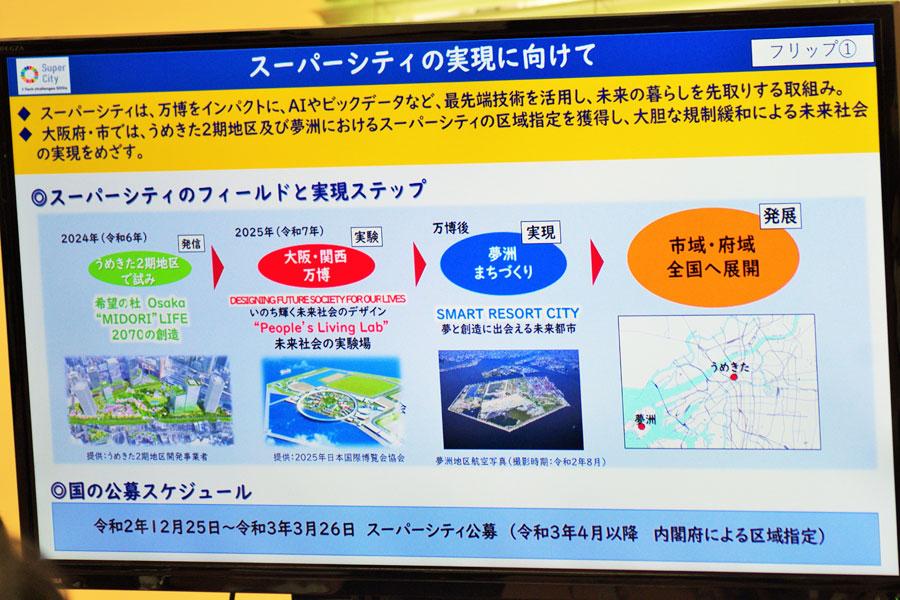 会見でのフリップより「スーパーシティの実現に向けて」(1月27日・大阪府庁)