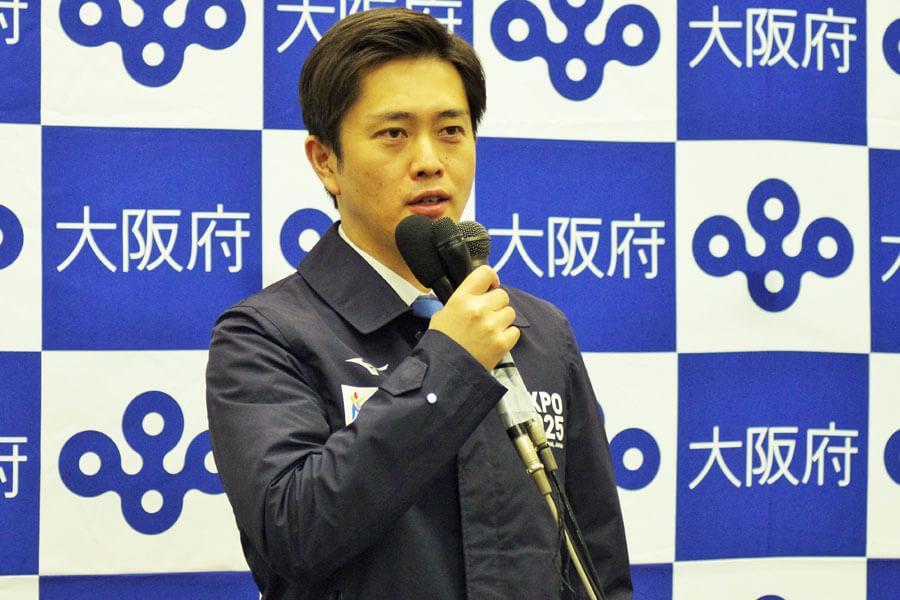 新年最初に実施された『大阪府新型コロナウイルス対策本部会議』後に会見を開いた吉村洋文知事(1月8日・大阪府庁)