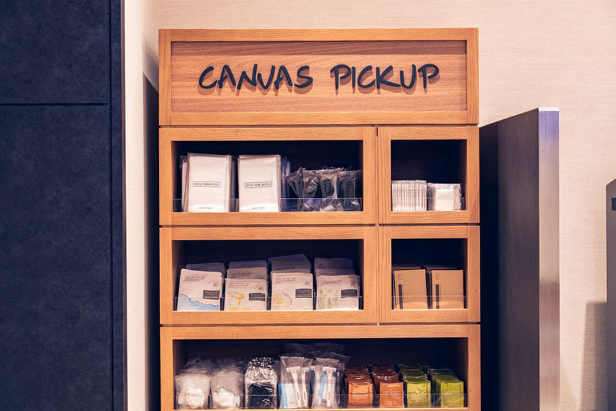 歯ブラシ、シャンプー&コンディショナー、ボディソープ以外のアメニティはロビーの「CANVAS PICK UP」コーナーに