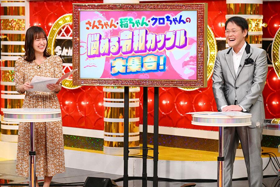 (左から)山崎香佳アナウンサー、アインシュタイン・稲田直樹(写真提供:MBS)