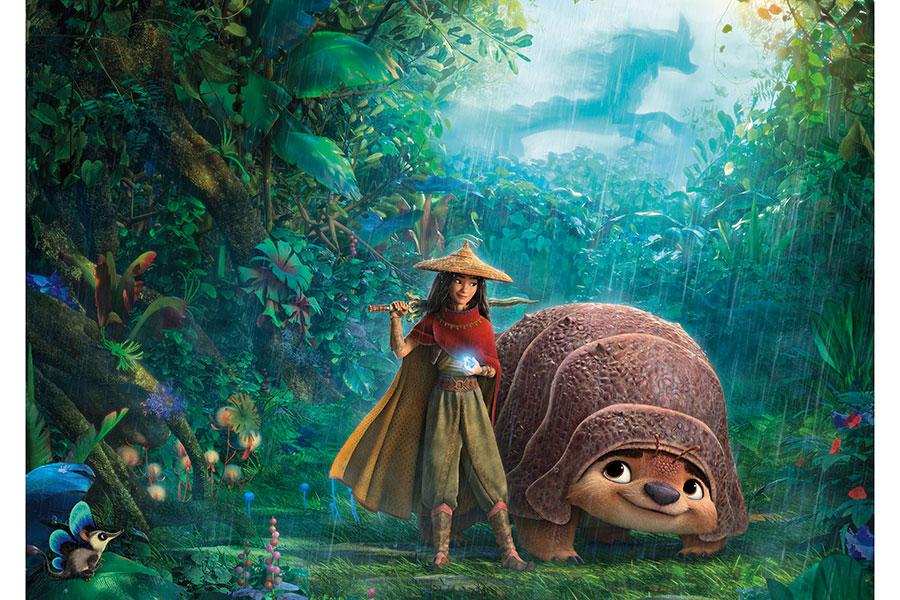 3月5日映画館と「ディズニープラス プレミア アクセス」同時公開される『ラーヤと龍の王国』。主人公のラーヤと相棒のトゥクトゥク。(C)2021 Disney. All Rights Reserved. (C)2021 Disney and its related entities