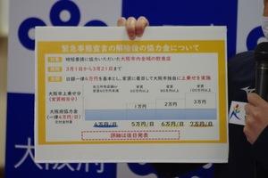 宣言解除後の協力金、大阪府は店舗に84万から147万円
