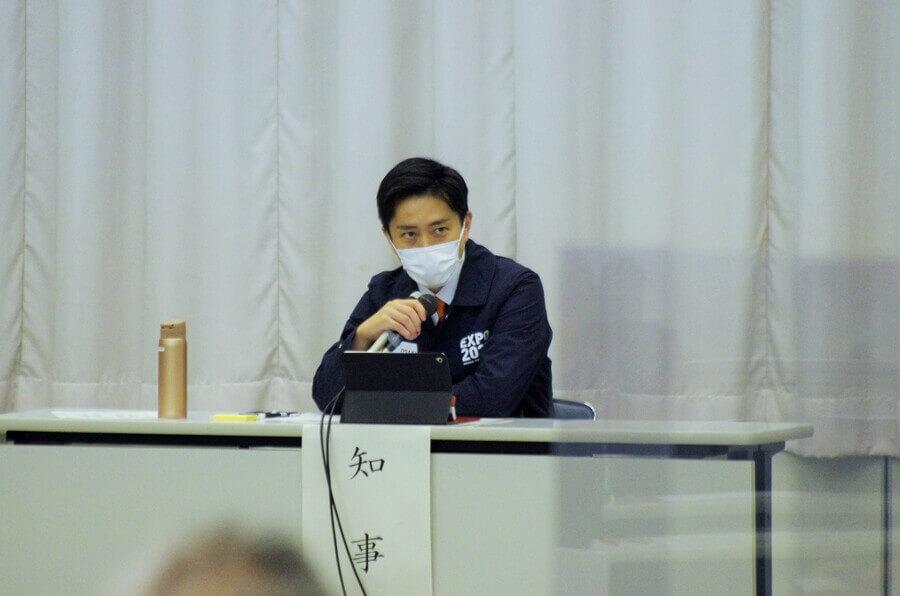『第37回大阪府新型コロナウイルス対策本部会議』で発言する吉村洋文知事(2月9日・大阪府庁)