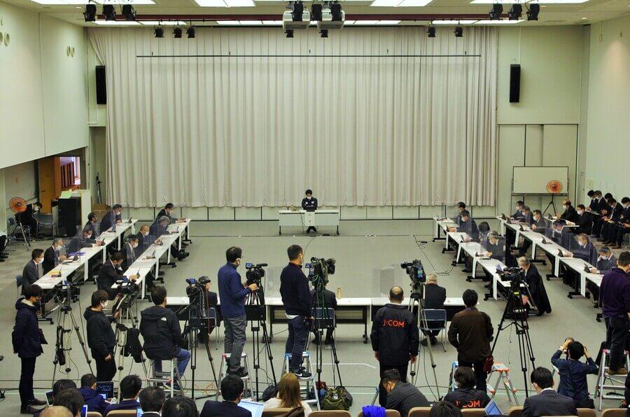 『第37回大阪府新型コロナウイルス対策本部会議』の様子(2月9日・大阪府庁)