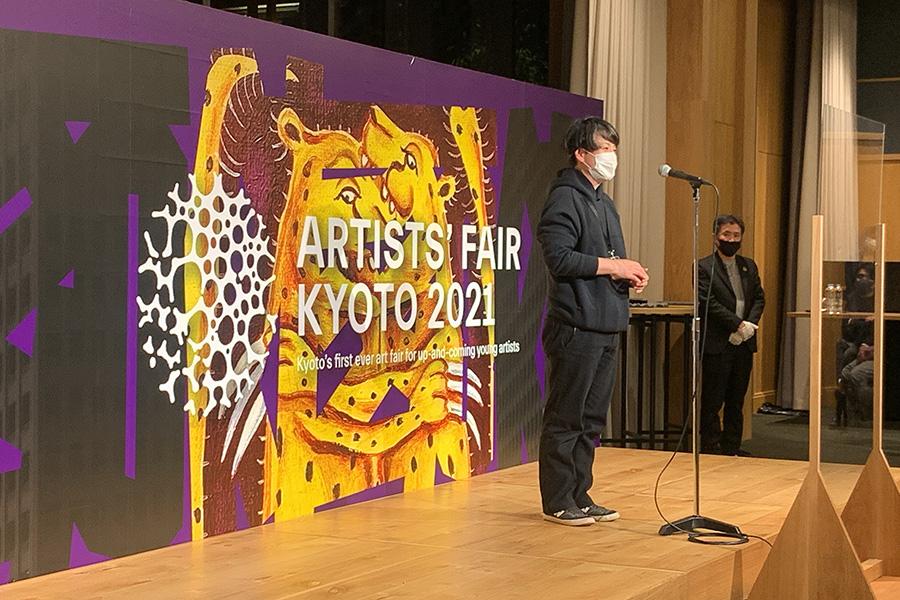 最優秀賞作品を受賞し、喜びを語る野田幸江