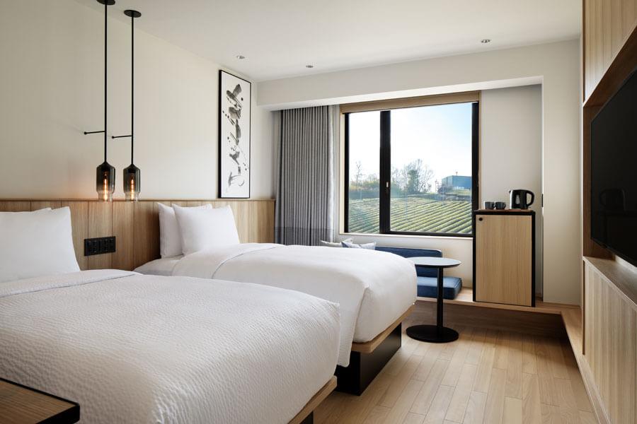 3月12日にオープンした「フェアフィールド・バイ・マリオット・京都みなみやましろ」の客室例・スタンダードツイン