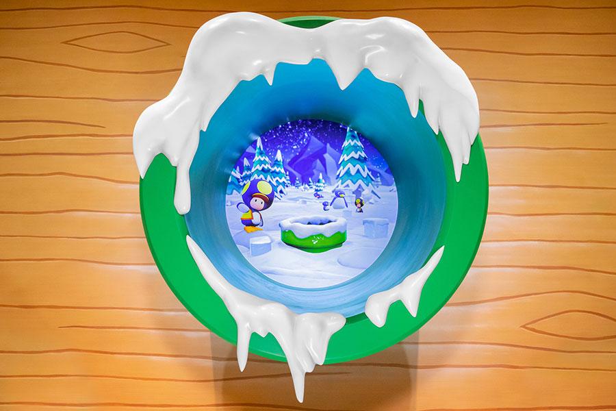 ドリンクカウンターにある土管の中には、ペンギンキノピオが氷を運ぶ様子が映し出されている。画像提供:ユニバーサル・スタジオ・ジャパン