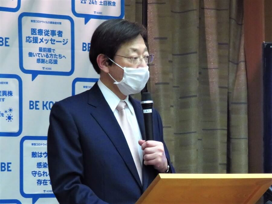 六甲山の整備について説明する、久元喜造神戸市長(3月25日・神戸市役所)