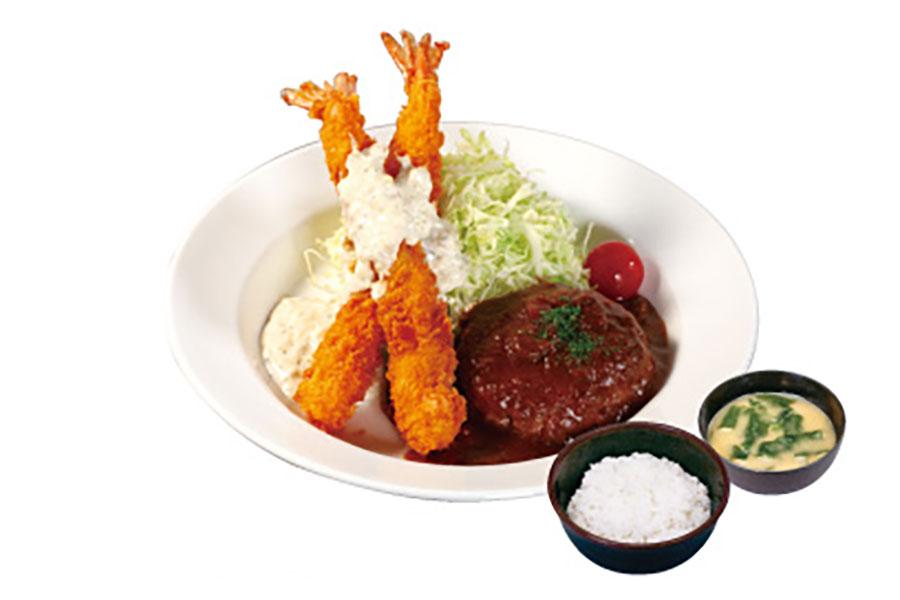 「ハンバーグ&海老フライ定食」(890円)※写真はブラウンソース
