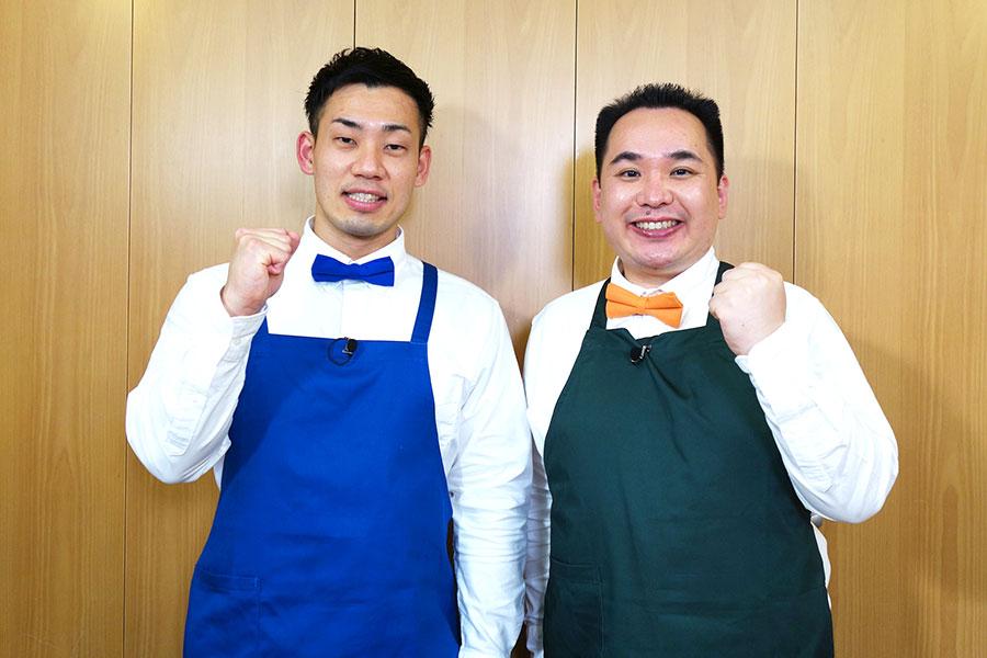 月曜レギュラーとして出演するミルクボーイ(左から、駒場孝、内海崇)。クッキングの新コーナーも受け持つという