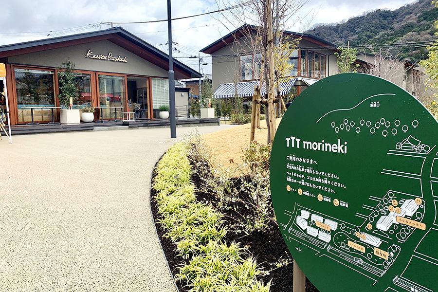住宅、公園、商業施設からなるmorinekiは、中央に芝生の広場も。裏の飯盛山は山登りのコースも整備されている