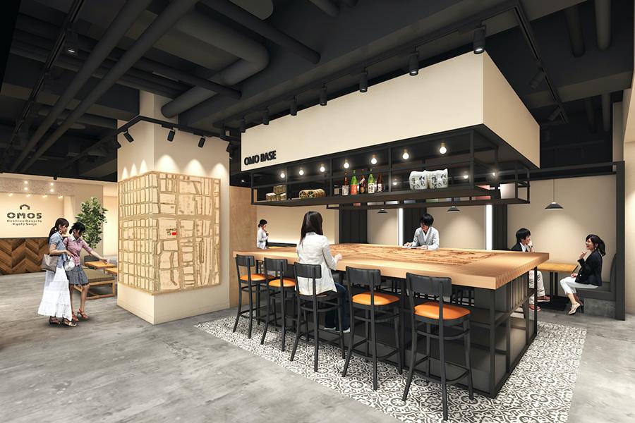 「OMO5 京都三条」のパブリックベースには、三条の街を紹介する「ご近所マップ」を設置し、カフェや小物屋などを紹介(イメージ)