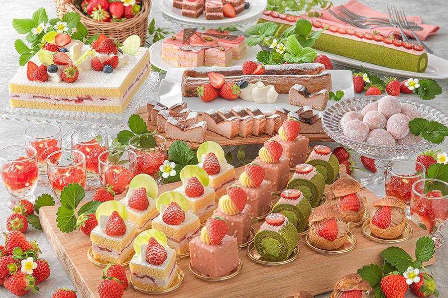 いちごのスイーツが春限定で充実。いちごチョコのカスタードケーキ、いちごのショートケーキなど