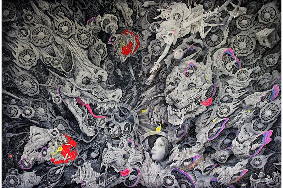 『龍虎』(2010/ペン、キャンバス、パネル)