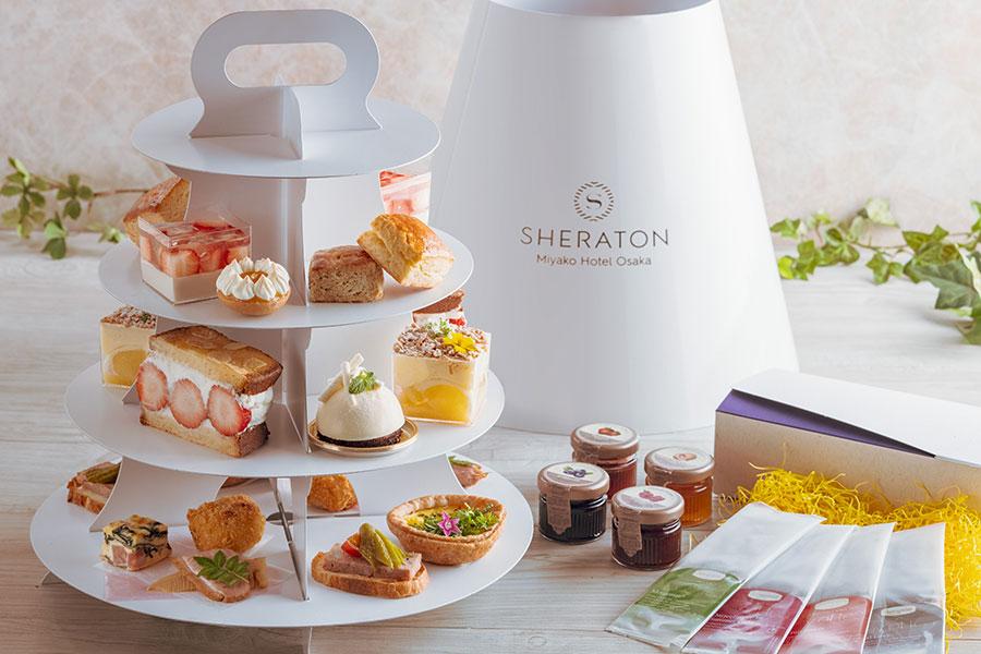 「シェラトン都ホテル大阪」では、スイーツ5種、スコーン2種、軽食5種、ジャム4種、紅茶4種付き。内容は1〜2カ月で変更(写真のメニューはイメージ)