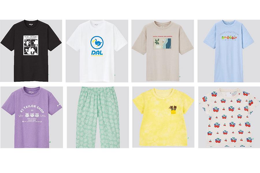 上段左3つは「Tシャツ」(1500円)、上段右「チュニック」(1990円)、下段左から「キッズ Tシャツ」(990円)、「キッズ ステテコ」(790円)、「ベビー Tシャツ」(990円)画像のほかにも種類あり