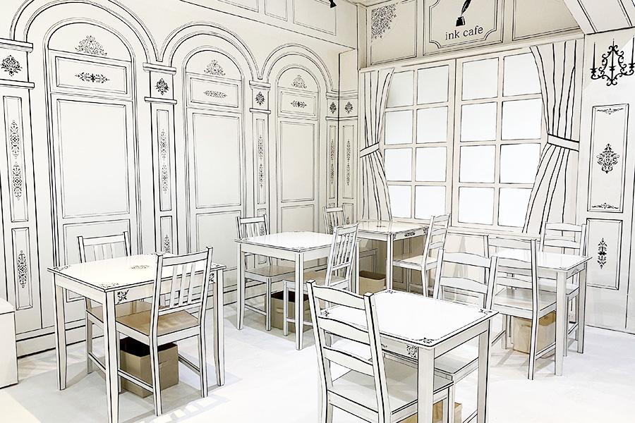 白と黒で統一されている空間