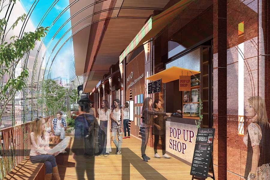 新たな飲食店が続々登場する、オープンスペース「ミオガーデンテラス」
